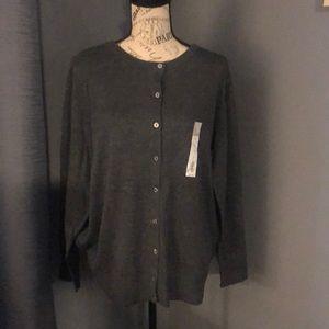 NWT gray plus size cardigan sweater
